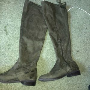 Olive Green Suede Boots
